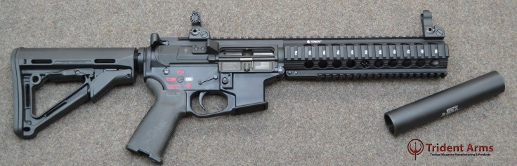 AR-9 Colt Pattern Bravo Rail 5-5 Barrel SBR with Suppressor