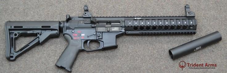 AR-9 Colt Pattern Bravo Rail 5-5 Barrel SBR with Suppressor